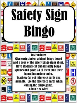 Safety Sign Bingo - Students cut and paste to make their own unique bingo card.