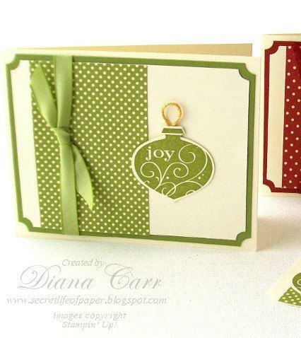 Handmade Christmas Card  - Green Joy Ornament