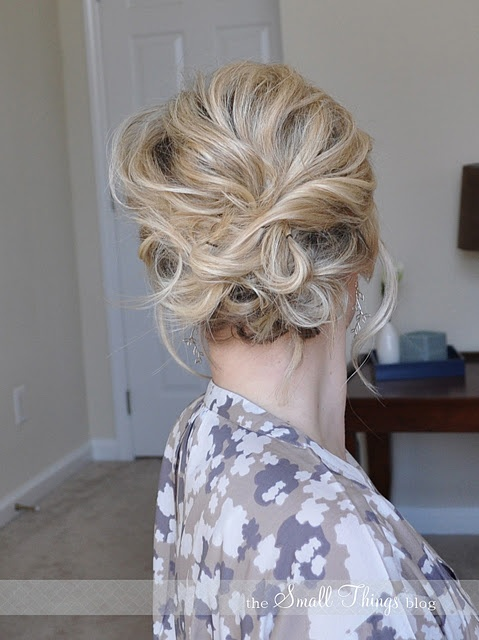 Messy side updo