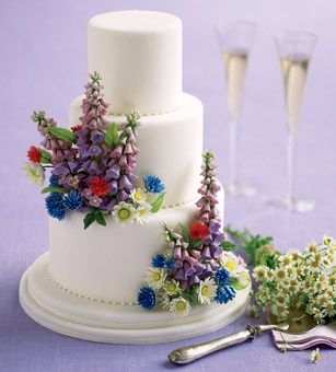 White cake with floral sprays