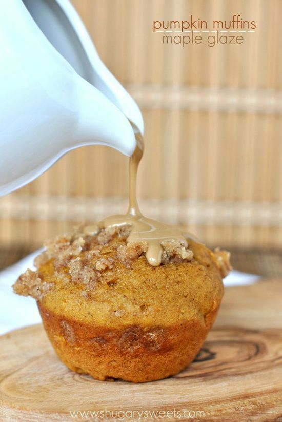 Pumpkin Muffins topped with a Cinnamon Toffee Streusel and Maple Glaze: www.shugarysweets...