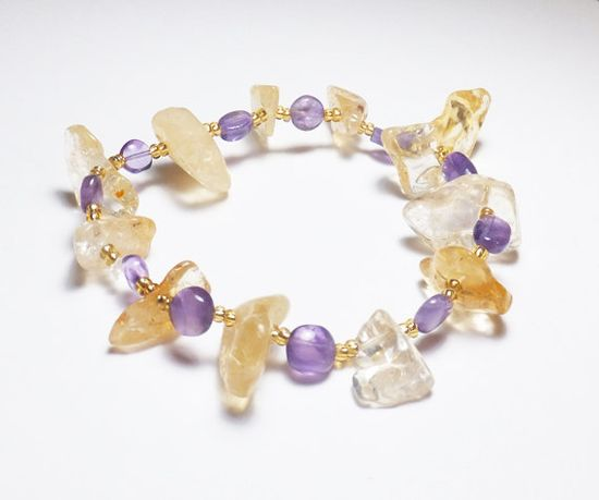 Citrine and Amethyst Stretch Bracelet by Designs by Tamiza, tzteja on Etsy, $17.00  #jewelry, #bracelet, #beaded, #designsbytamiza, #noclasp, #handmade, #ooak, #champagne, #purpleandgold, #lsu, #lakers, #amethyst, #citrine, #purple