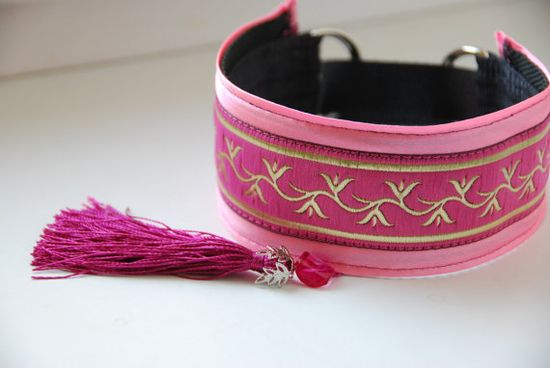 Greyhound collar with tassel, Saluki, Whippet, Lurcher, martingale, handmade