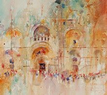 Jean Haines what an approach with watercolours !