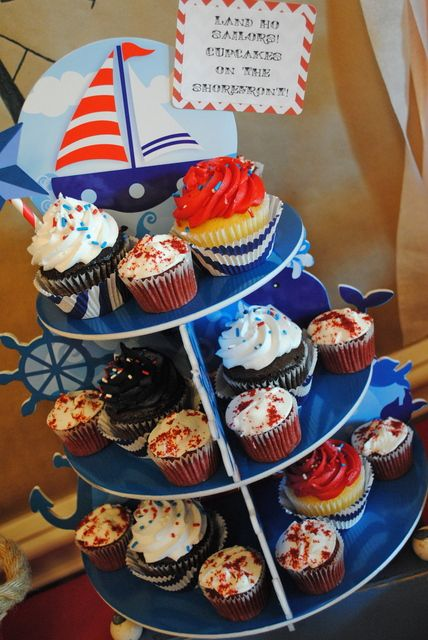 Cupcakes at a Nautical Party #nautical #partycupcakes