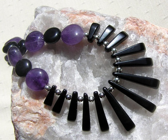 Black Onyx & Amethyst Crystal Gemstone Necklace  by SunnyCrystals, $39.00
