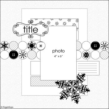 Great for winter layout scrapbook sketch