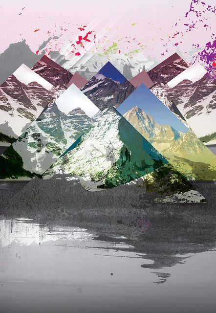 Graphically collaged mountain range