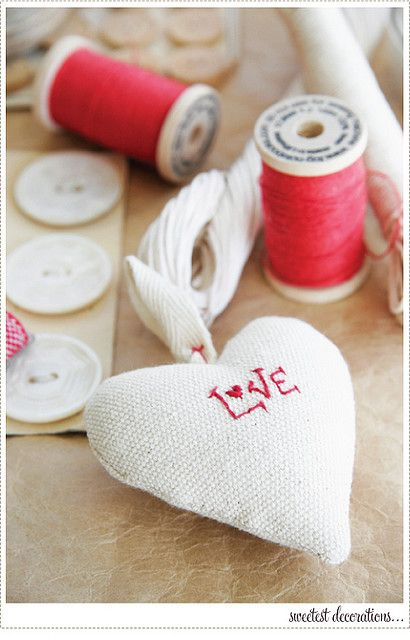Heart ornament with embroidery