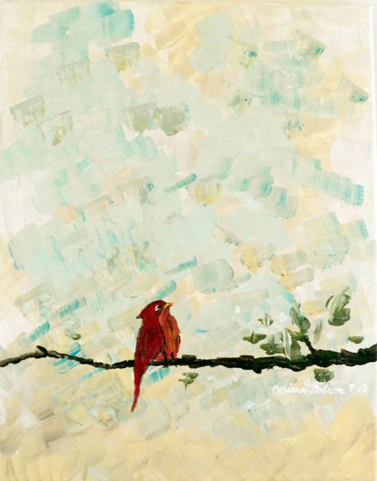 Winter Cardinal on a Branch  Original Art Acrylic on by NimbuRu, $52.00