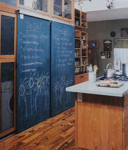 chalkboard sliding door to pantry.