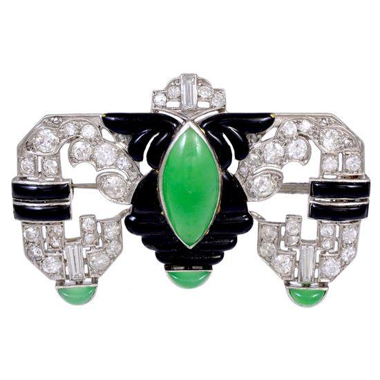 ART DECO Diamond Jade and Enamel Brooch