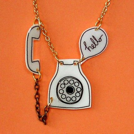 clever shrinky dink #necklace #charm #telephone #phone #hello #shrinky_dink #pendant #jewelry