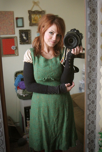 green and black. I like her arm warmers