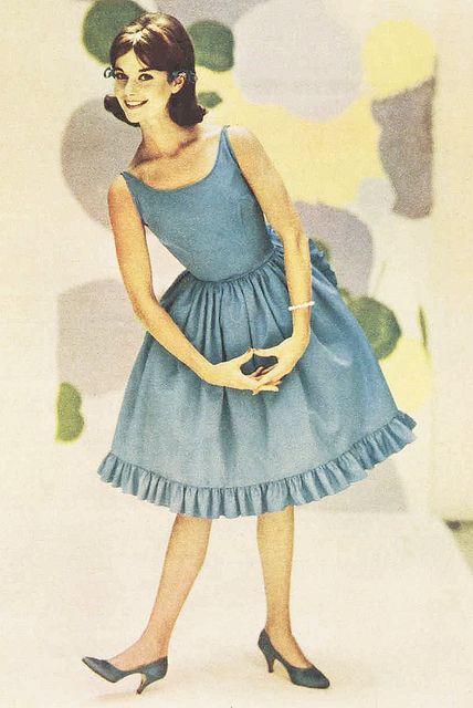 1960s blue ruffle party dress