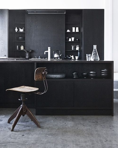 stunning black kitchen