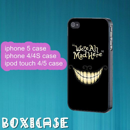 Alice Wonderland Cheshire Cat---iphone 4 case,iphone 5 case,ipod touch 4 case,ipod touch 5 case,in plastic,silicone and black,white. by Boxicase, $14.95