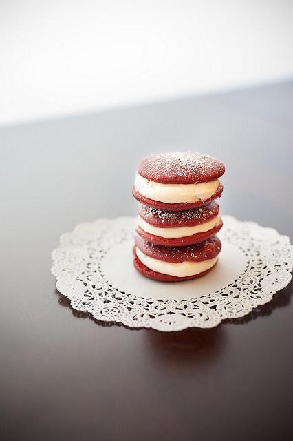 Absolutely lovely little Red Velvet Whoopie Pies. #red #velvet #whoopie #pie #cake #food #dessert #baking