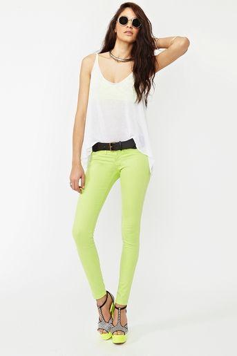 Dream Skinny Jeans in Lime  www.nastygal.com/...