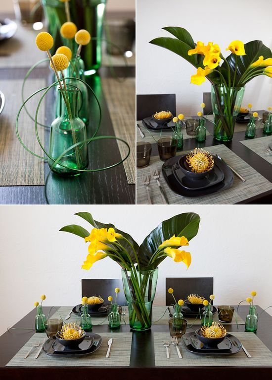 Modern tablescape, Black, yellow, gray