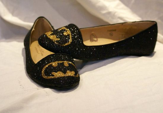 Black and Gold Glittered batman pumps by Viabloomfield on Etsy, £30.00