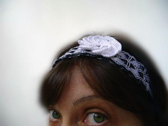 Handmade headband of buttons.