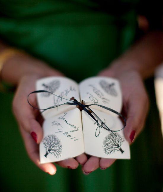 cute idea for wedding program - fall wedding