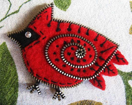 Zipper and felt cardinal