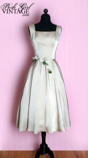 ~1950's Saks Fifth Avenue Beige Satin Dress~