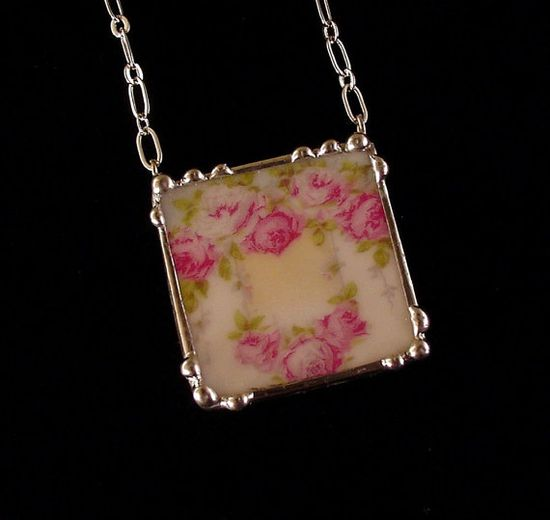 Broken china jewelry necklace antique ornate  French rose china