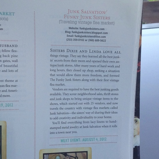 Romantic Homes Magazine Aug/ Sept Top 25 Best Romantic Style Flea Markets in America. We are one of them!