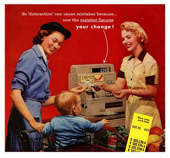 1950s supermarket loveliness (on both the part of the mother and the cashier). #vintage #1950s #homemaker #supermarket