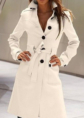 White Long Sleeve Drawstring Waist Back Buttons Coat - love the trench style