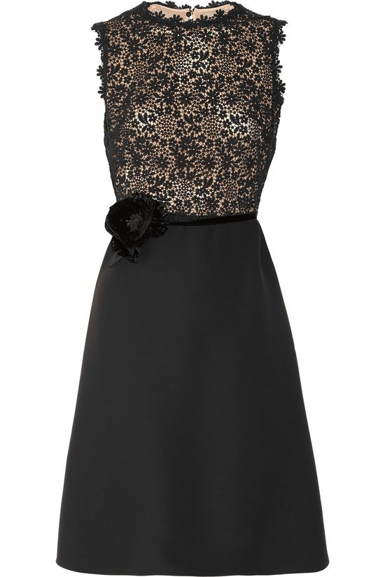 Silk-crepe and lace dress by Valentino