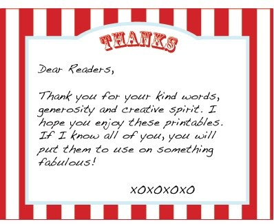 CARNIVAL / CIRCUS PARTY WEEK - FREE PRINTABLE THANK YOU NOTE