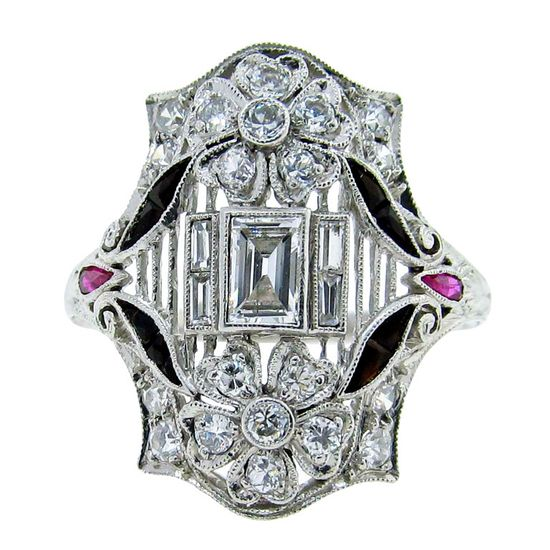 Art Deco Diamond Ring with Onyx and Ruby 1925