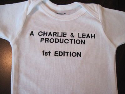 Cute idea for a baby shower gift:  newborn bodysuit embroidered with  1st Edition and mom & dad's names. $22.00, via Etsy.