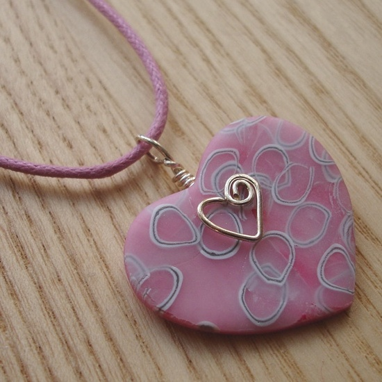 Pink White and Silver Millefiori Heart FIMO Polymer Clay Pendant. £5,00, via Etsy.
