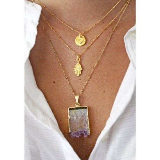 Raw Amethyst Slice Necklace by keijewelry on Etsy, $50.00