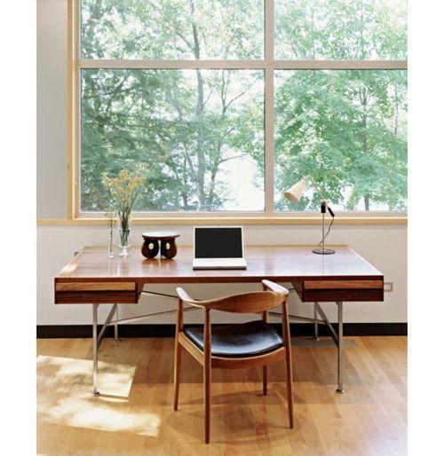 mid-century modern style workspace