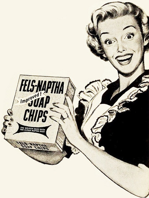 Fels-Naptha Soap Chip ad, 1950. #vintage #1950s #homemaker