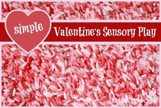 Train Up a Child: Valentine's Sensory Play with Colored Rice