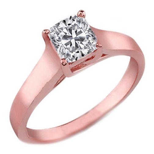 Classic Solitaire Cushion Diamond Trellis Engagement Ring in 18 Karat Pink Gold