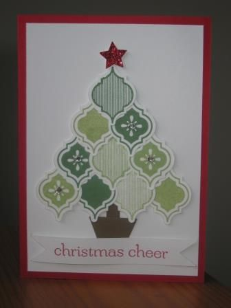handmade card: Mosaic Christmas Tree  ... version of the circle tree using the stamped and punched tiles from Mosaic Madness ... look like ornaments ... lots of shades of green ... like it!! ... Stampin' Up!