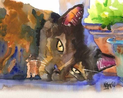 Tortie Cat Art Print of Original Watercolor Painting 8x10 Signed via Etsy