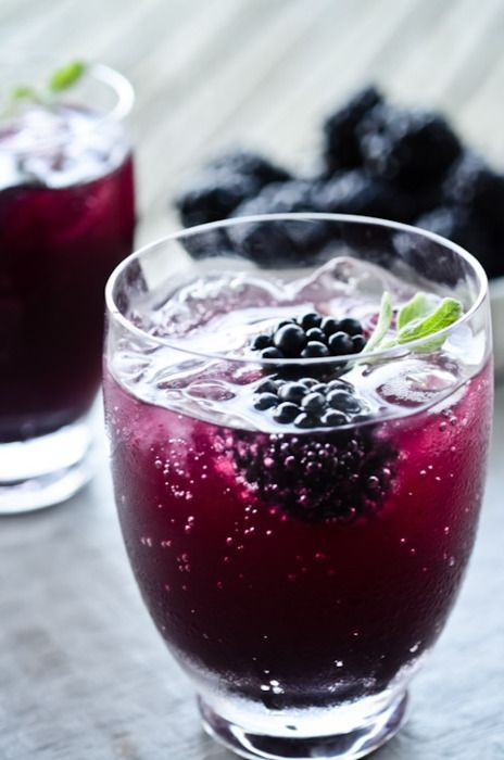 Blackberry Sage cooler (sub: club soda and mint)