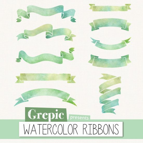 Watercolor ribbon clip art: WATERCOLOR RIBBONS watercolour ribbon clipart pack with banners for scrapbooking, card making, invites
