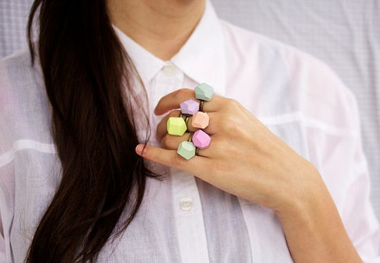 NEW pastel geo rings, AMM jewelry