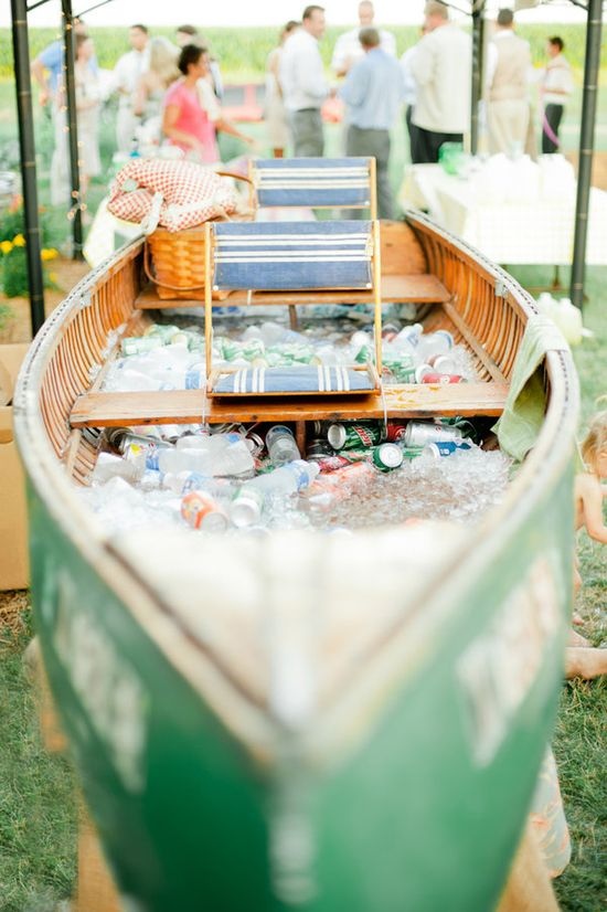 boat filled with drinks! What a fun idea for outdoor wedding.