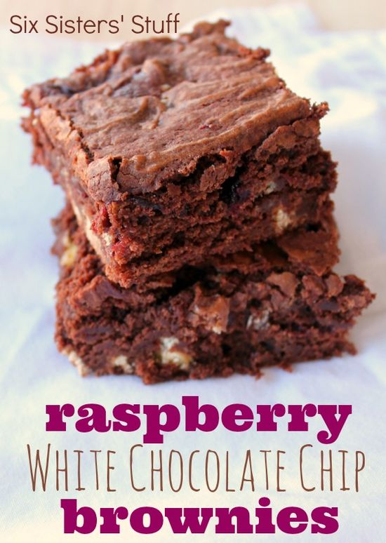 Raspberry White Chocolate Chip Brownies from SixSistersStuff.com.  Fudgy brownies with white chocolate chips and a layer of raspberry filling! #recipes #dessert #brownies
